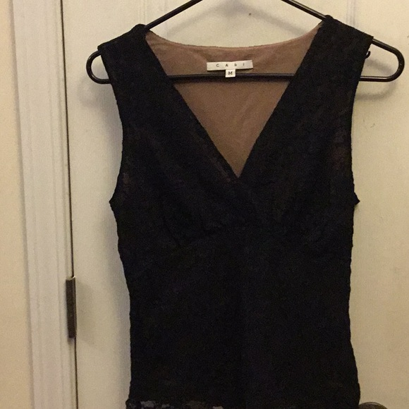 CAbi Tops - A Black Cabi sleeveless with tan lining